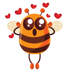 Bee in love on white background vector