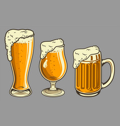 beer mugs with foam set in vintage style vector image