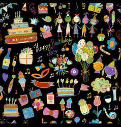 birthday party seamless pattern for your design vector image