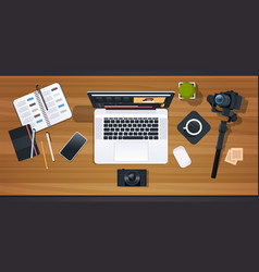 Blogger or video editor workplace laptop with vector