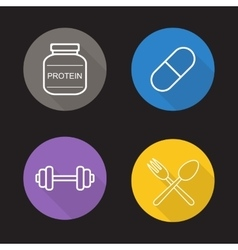 Bodybuilding flat linear icons set vector