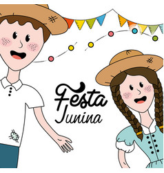 Brazilian people celebrating festa junina with vector