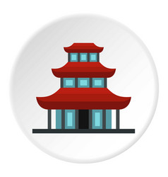 buddhist temple icon circle vector image