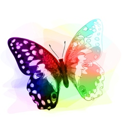 Butterfly Iridescen colours Unfinished Watercolor vector