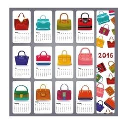 Calendar 2016Fashion woman handbags vector