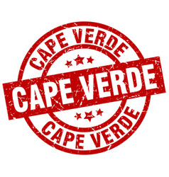 cape verde red round grunge stamp vector image vector image