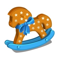 Children wooden rocking horse with blue bow vector