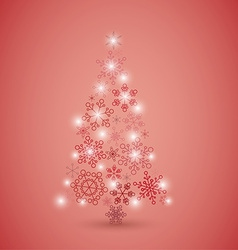 Christmas tree made from red snowflakes vector image
