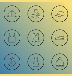 Clothes icons line style set with cap jacket vector