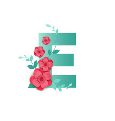 color letter e with beautiful flowers vector image