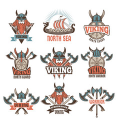 Colored labels set with medieval barbarian vector