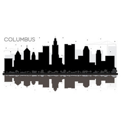 columbus ohio city skyline black and white vector image