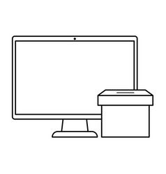 computer with ballot box isolated icon vector image