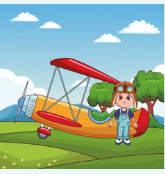 Cute kids flying cartoons vector