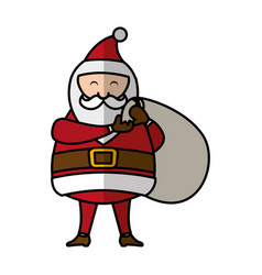 Cute santa claus character with gifts bag vector