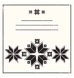 Dark gray greeting card with folk scandinavian and vector