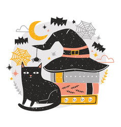 decorative halloween composition with cute black vector image