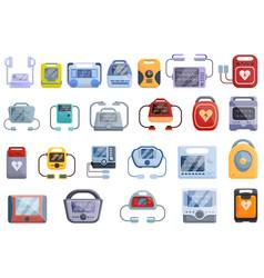 Defibrillator icons set cartoon style vector