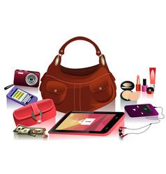 Details of modern bag for female vector