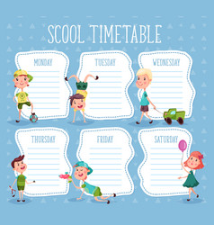 Education diary or school timetable for pupils vector