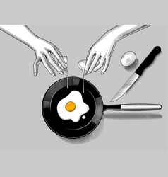 female hands cook fried eggs vector image