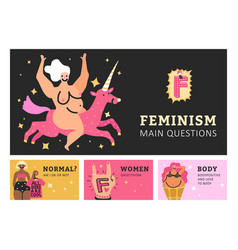 Feminism horizontal banners vector