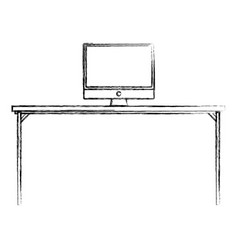 Figure wood desk object with computer technolgy vector