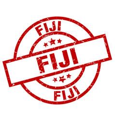 Fiji red round grunge stamp vector