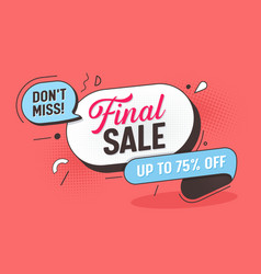 final sale offer banner big layout mega discount vector image