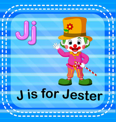 Flashcard letter j is for jester vector