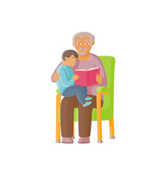 Flat grandfather with girl kid reading book vector