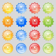 floppy disk icon sign Big set of 16 colorful vector image