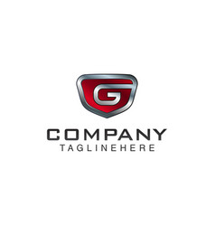 g letter shield logo template black and red color vector image