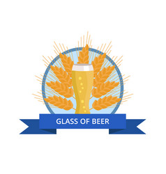 glass of beer weizen on background ears of wheat vector image