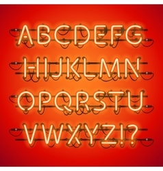 Glowing Neon Red Alphabet vector image