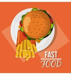 Hamburger french fries and fast food design vector