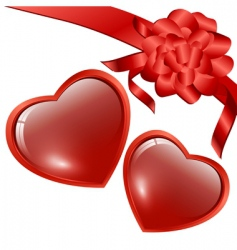 hearts with bow vector image