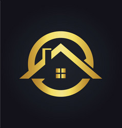 house icon roof gold logo vector image