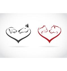 image animal on heart shape vector image