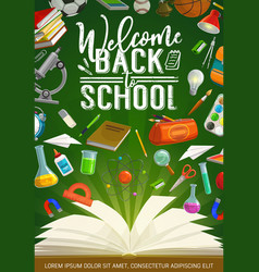 Invitation back to school educational stationery vector