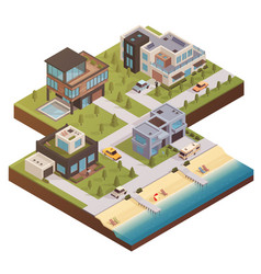 isometric building estate composition vector image