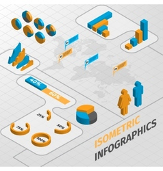 Isometric business infographics design elements vector image