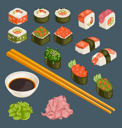 Japanese food collection vector