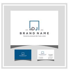 Letter dj square logo finance design and business vector