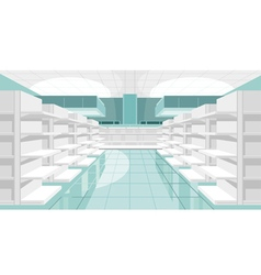 Light store room with empty shelves vector image vector image