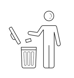 Man throwing garbage in trash bin line icon vector
