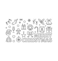 merry christmas linear banner xmas minimal vector image