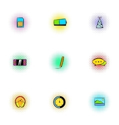 Messages over internet icons set pop-art style vector image