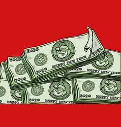 money cash annual bonus santa claus character vector image
