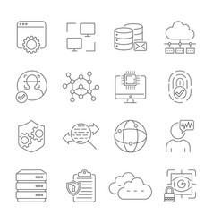network technology face recognition internet vector image